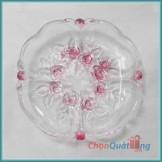 Đĩa hoa đào 4 tim màu hồng