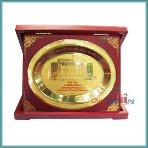 Biểu trưng đĩa đồng hộp gỗ CN to